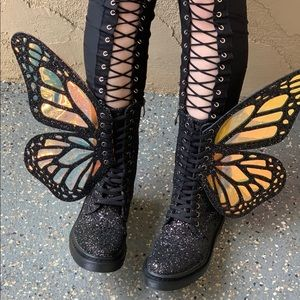 Shoes - Butterfly Boots Glitter Rave Burning Man EDC Black